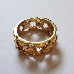 Avon goldtone lattice design cigar band ring sz 8